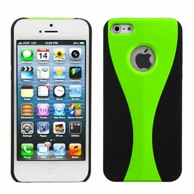 For Apple iPhone 5/5S/SE C Wave Rubberized Hard Snap-in Case Cover Green/Black
