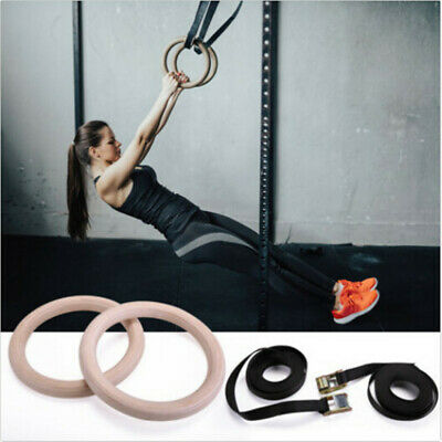 Wooden Gymnastic Olympic Wood Rings Fitness Exercise Rings for Body Training