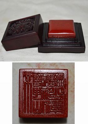 China Qing Dyn Nature BloodStone Seal HandCaved Small Stamp Beautiful Hollow Box