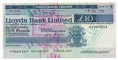 UK LLOYDS BANK LIMITED TRAVELLERS CHEQUE 1979 £10 gEF