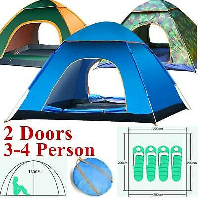 2-4 Person Camping Tent Waterproof Room Outdoor Family Hiking Backpack Fishing