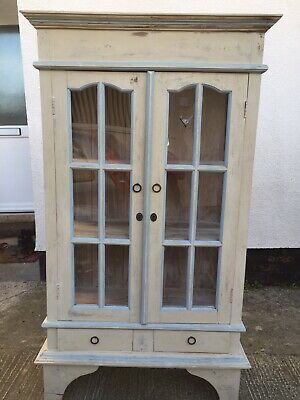 Vintage French Inspired Whitewashed Cabinet With Glass Doors