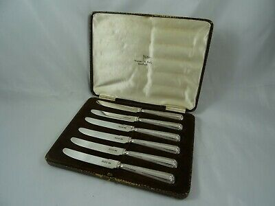 BOXED set x 6 solid silver TEA KNIVES, 1933