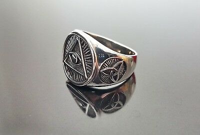 6544ab528fd3a STERLING SILVER 925 Ring Masonic Symbols All Seeing Eye Pyramid Celtic Knot