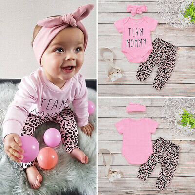UK Newborn Baby Girls Leopard print Clothes Tops Romper Pants Tracksuit Outfits