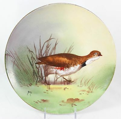 Fine Antique Signed Hand Painted Cabinet Plate Lrl Limoges China Bird Marsh Gold