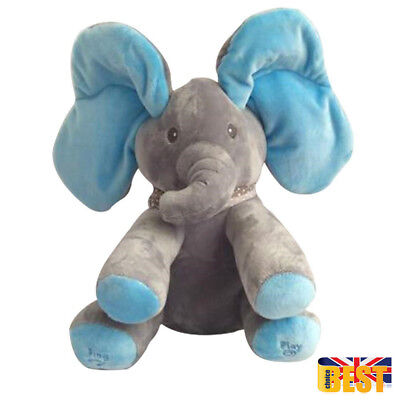 Peek-a-boo Music Singing Elephant Plush Toy Stuffed Animated Kids Doll Soft Toy