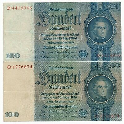 Germany Reichsbanknote 2 * 100 Mark Notes 1935  P. 183  Fine D & Q