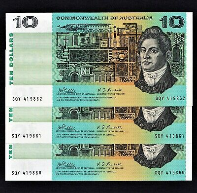 """COMMONWEALTH OF AUSTRALIA"" $10 NOTES PHILLIPS RANDALL 3 CONSEC a/UNC.CAT $360"