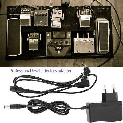 Pro 9V Guitar Effect Pedal Power Supply 3 way Daisy Chain Cable EU Adapter Set