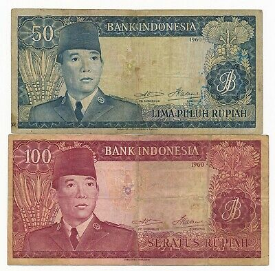 1960 Indonesia 50 & 100 Rupiah P. 85 & 86 Scarce Notes  VG+