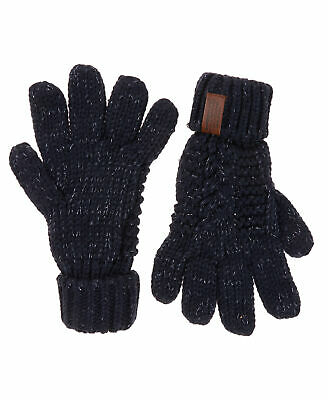 New Womens Superdry Unique Sample North Cable Knit Gloves Navy Sparkle