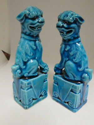 Pair Of Chinese Porcelain Dogs Of Foo Or Fu Dogs Turquoise Glaze