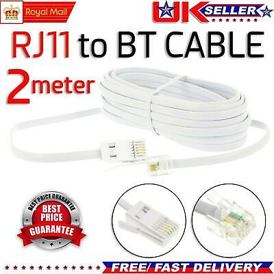 4 Pin Straight Socket RJ11 to BT Cable Lead Modem FAX Telephone Phone Plug 2m