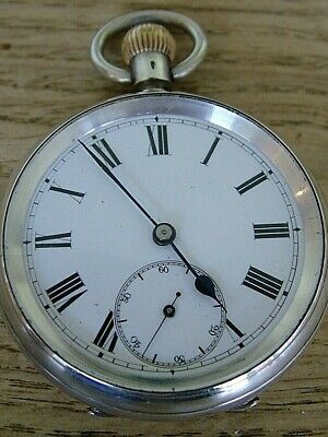 FULLY WORKING ANTIQUE 1920's GENTLEMAN'S SILVER POCKET FOB WATCH NO RESERVE