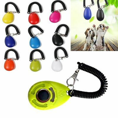 Hot New Pet Dog Cat Button Clicker Trainer Training Obedience Aid Wrist Strap
