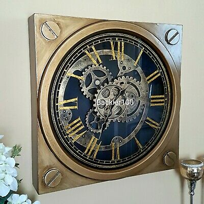Contemporary Gold Finish Wall Clock with Moving Mechanism Square 45cm