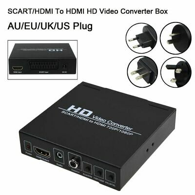 Scart/HDMI to HDMI 720P 1080P HD Video Converter Monitor Box For HDTV DVD STB US