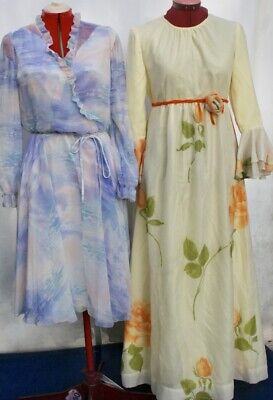Vintage 1970s 2 X FORMAL DRESS Bridesmaid DRESS UP, Soft and Floaty SWEET, M S