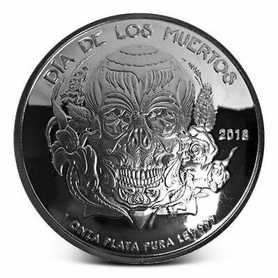 2018 Proof Dia De Los Muertos (Day of the Dead) Domed 1oz Silver Round Only 1000