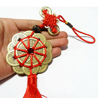 Feng Shui Mystic Knot 10 Chinese Lucky Coins Cures Home Career Health Wealth PL