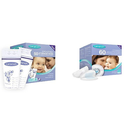 Lansinoh Breastmilk Storage Bags 50 Pieces and Disposable Nursing Pads 60 Pieces