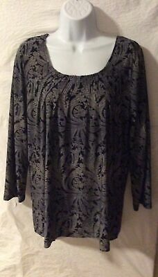 b38a25fb Rafaella Women's Top 3/4 Sleeve Pleated Front Paisley Blouse Casual Size  Large