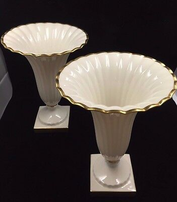 """Pair of VINTAGE LENOX REGAL IVORY & GOLD TRIM & BASE ~ 8 1/2"""" ~ MADE IN USA MINT"""