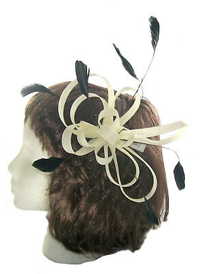 Fascinator Comb in Black and Cream with feathers for weddings , ladies day