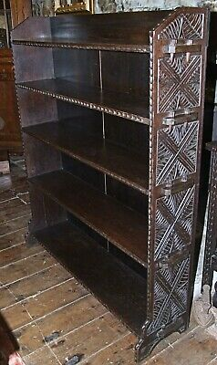 Antique Victorian carved dark oak open waterfall BOOKCASE pegged book shelves
