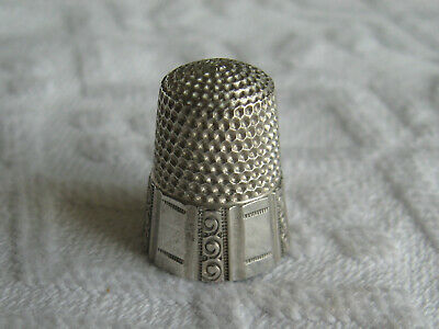 Antique Sewing Thimble Marked Sterling Silver 925 & Star Inside Top - Size 7