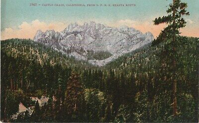 Mount Shasta California CA Castle Crags from SPRR Route Postcard Edward Mitchell