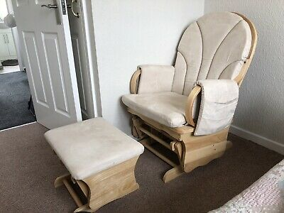 Baby Nursery, Nursing Glider Rocking Chair With Foot Stool / Rest