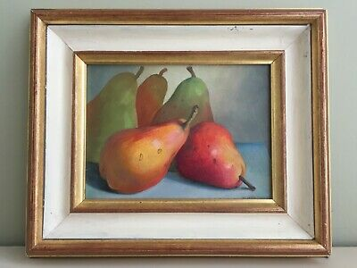 """Oil on Board Painting Still Life """"Five Pears"""" Peter Gardner ROI Signed Dated 96"""