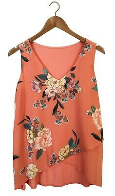 New Ex Chain Store Ladies Peach Floral Top Sizes 10-22