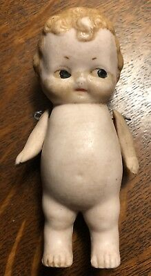 Early Antique German Bisque Ceramic Hand Painted Blonde Doll Figurine Baby, Rare