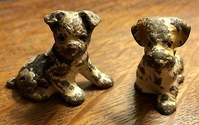 Antique/Early Pair Cast Iron Miniature Painted Dogs, Collectibles. Adorable!