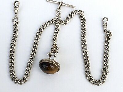 Excellent Antique Solid Silver Double Pocket Watch Chain With Tiger Eye Fob 1910