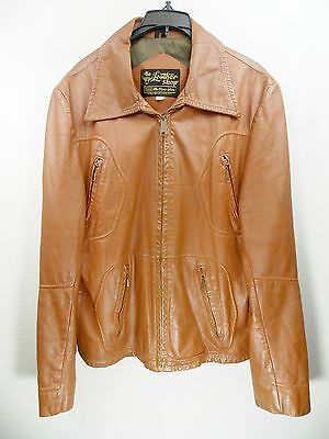 Classic 1970's Style Brown Leather Jacket Size 42 Harley Biker Retro Rockabilly