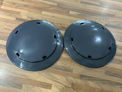 Vespa PX 125 200 T5 LML Dark Grey Plastic Wheel Discs Trims & Fixing Clips