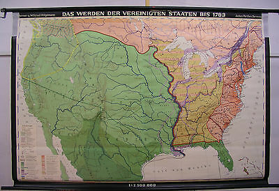 Schulwandkarte Wall Map USA Bis 1783 Spain Indian Tribes Siedler 195x134cm