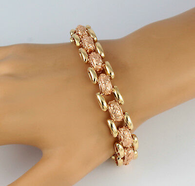 Heavy Vintage Solid 9Ct Rose And Yellow Gold Ornate Oval Link Bracelet 36.7g