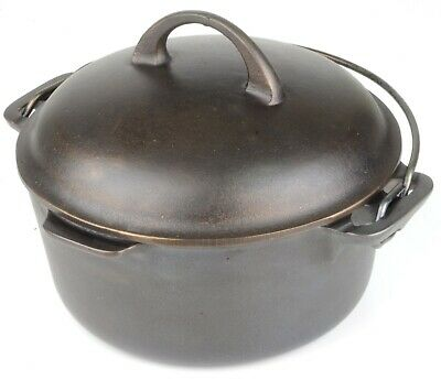 Vintage Block Logo Griswold No 6 (2605) Cast Iron Dutch Oven in Restored Cond