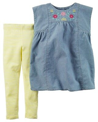 NWT Carters Girl Blue Denim Floral Tunic Top Yellow Legging Summer Outfit Set 4T