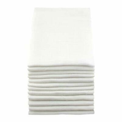 Muslinz Premium High Quality Baby Muslin Squares (White, Pack of 12)