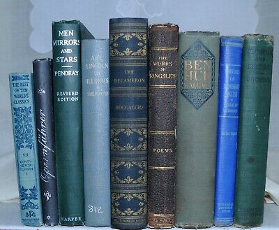 9 ANTIQUE BLUE &GREEN Book Lot *Early 1900 Distressed Vintage Decor Set Library