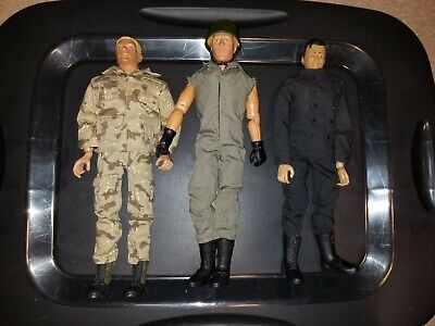 """Lot of 3 action figures, 12"""" 1:6 scale like12"""" GI Joe Includes military clothes"""