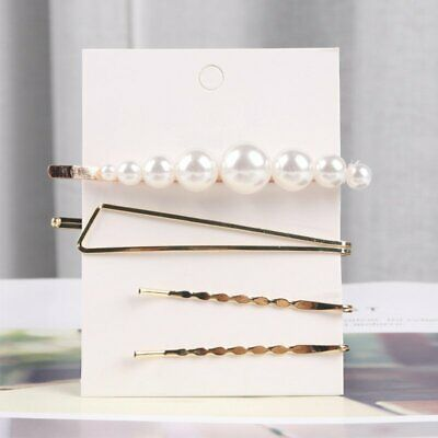 4pcs/set Chic Pearl Hair Clip Snap Stick Barrette Hairpin Hair Women Party Gift