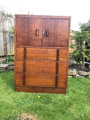 Vintage 1930's Oak Art deco Tall Boy/Storage/Cupboard Cabinet