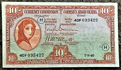IRELAND 10 SHILLINGS LADY LAVERY of 1940 with WAR CODE 'H' (WWII) PICK # 1C CIRC